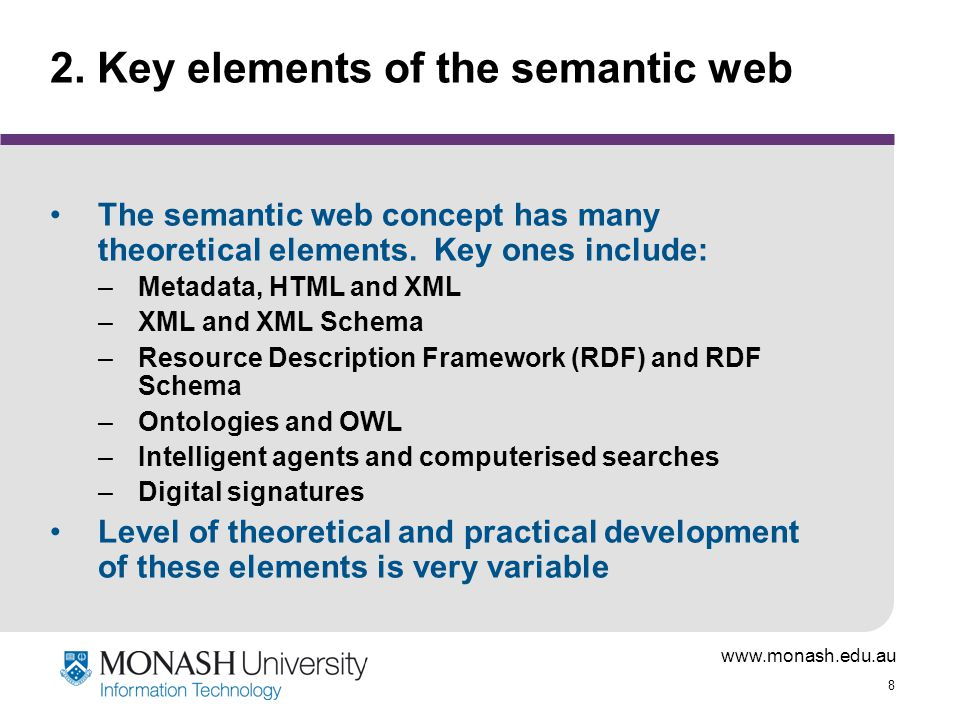 2. Key elements of the semantic web