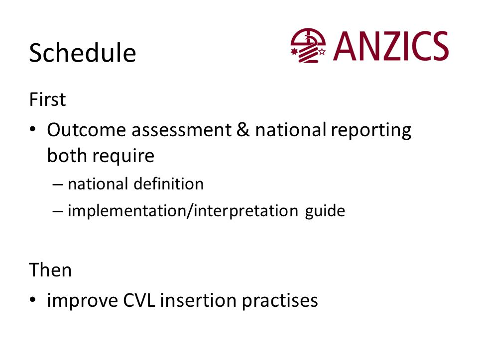 Schedule First Outcome assessment & national reporting both require