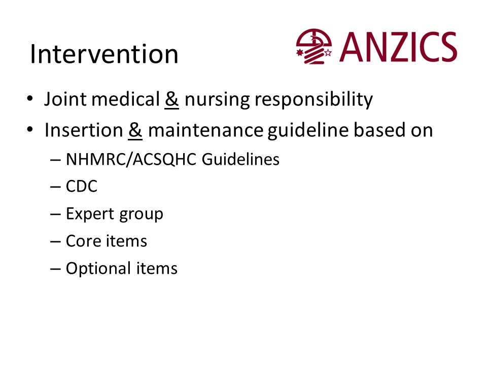 Intervention Joint medical & nursing responsibility