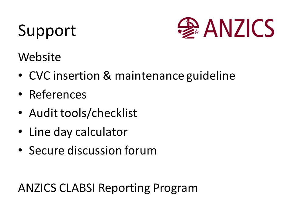 Support Website CVC insertion & maintenance guideline References