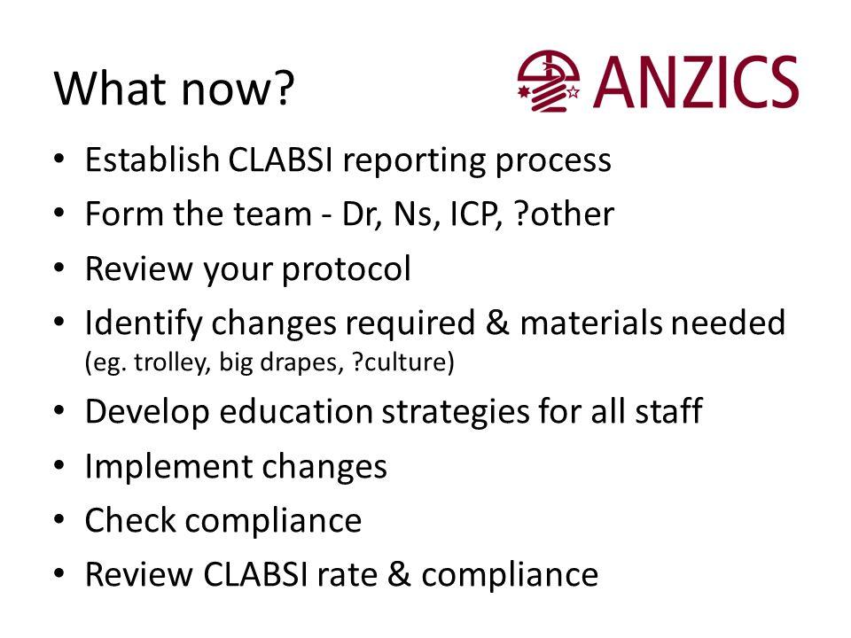 What now Establish CLABSI reporting process