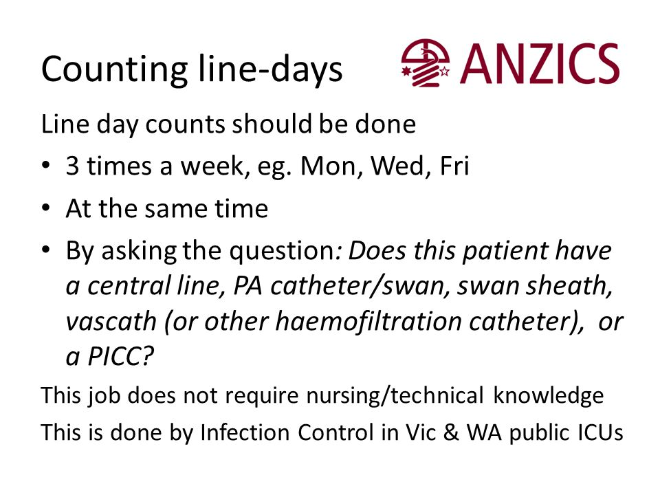 Counting line-days Line day counts should be done