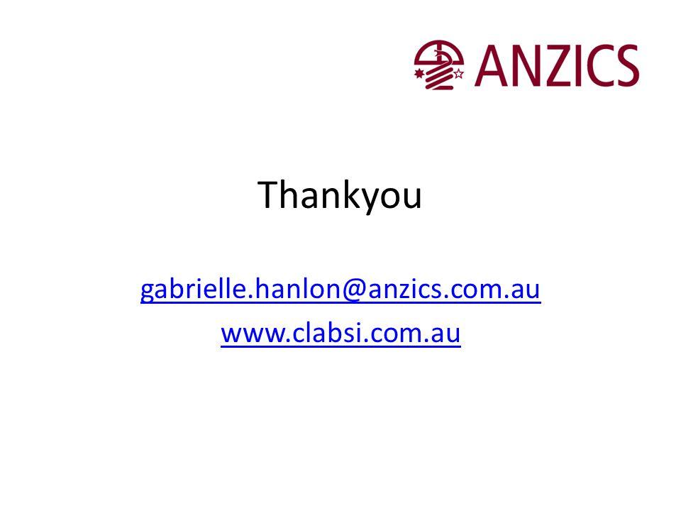 Thankyou gabrielle.hanlon@anzics.com.au www.clabsi.com.au