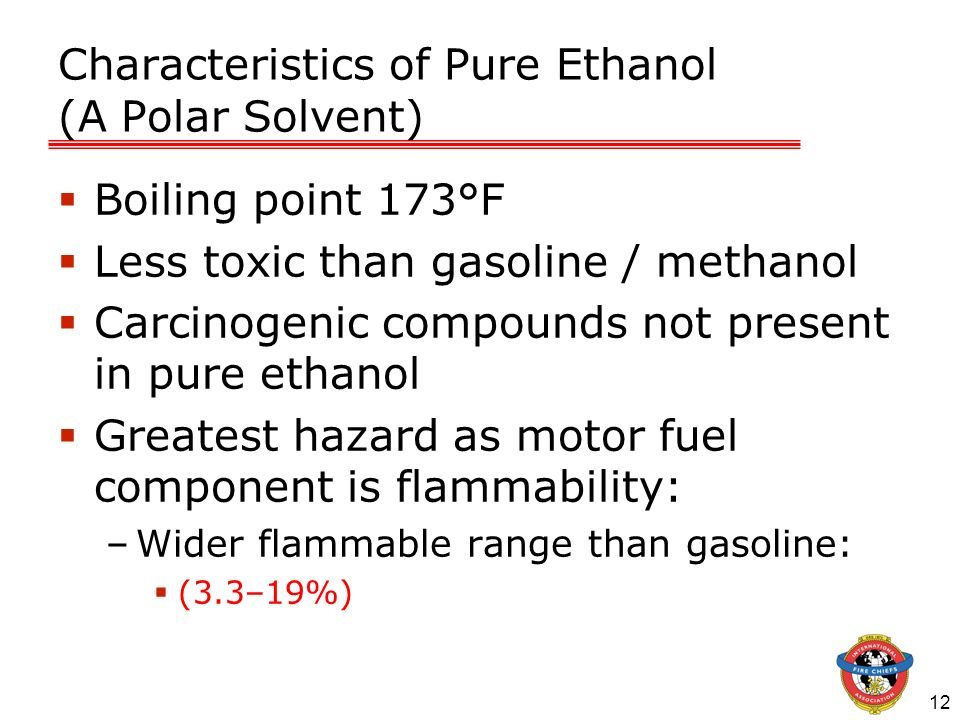 Characteristics of Pure Ethanol (A Polar Solvent)