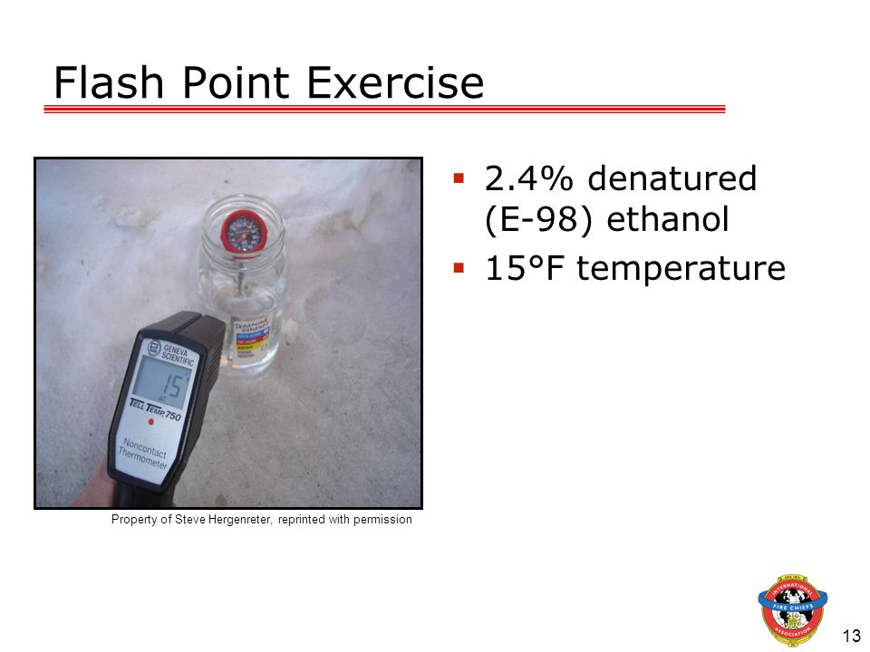 Flash Point Exercise 2.4% denatured (E-98) ethanol 15°F temperature