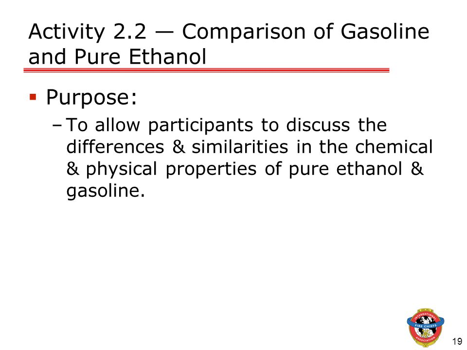 Activity 2.2 — Comparison of Gasoline and Pure Ethanol