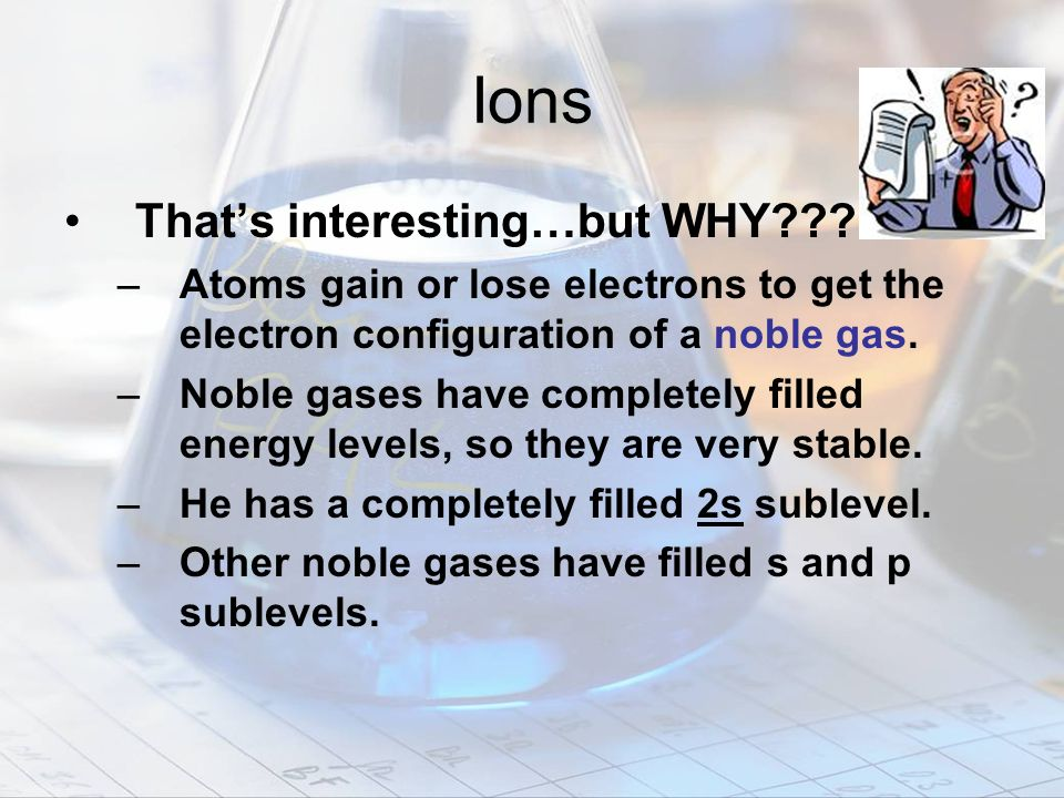 Ions That's interesting…but WHY