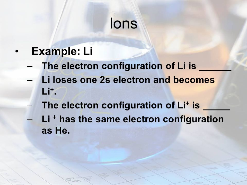 Ions Example: Li The electron configuration of Li is ______