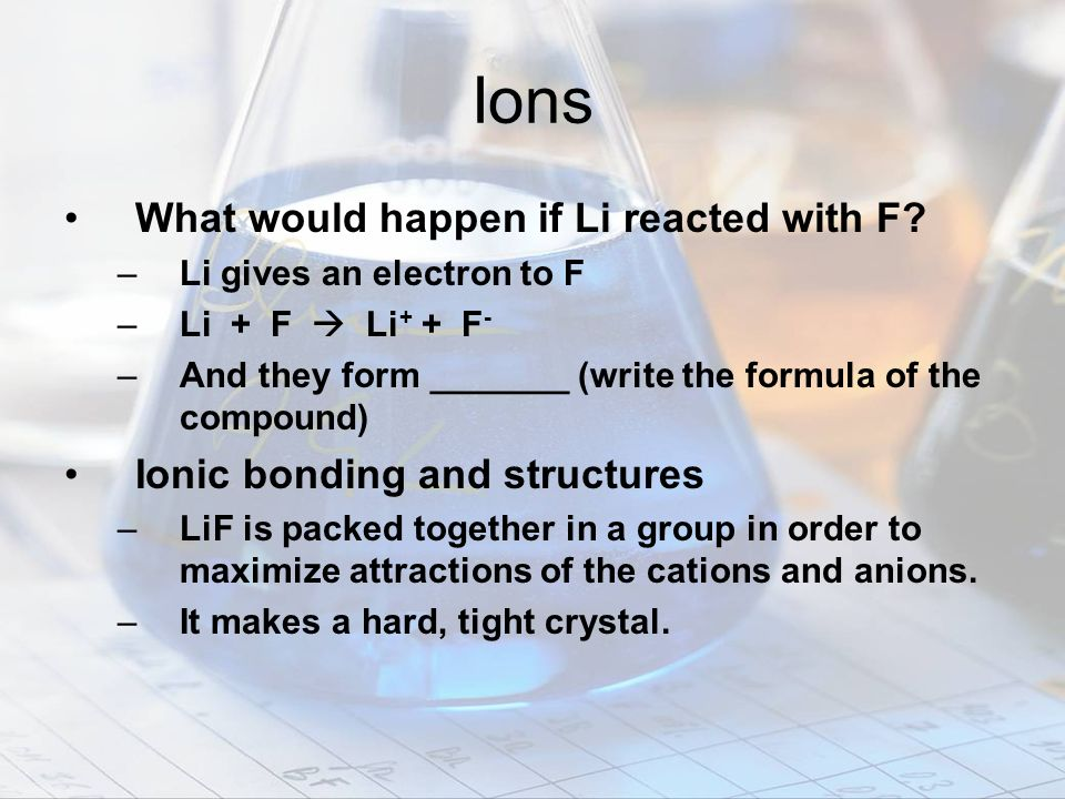 Ions What would happen if Li reacted with F