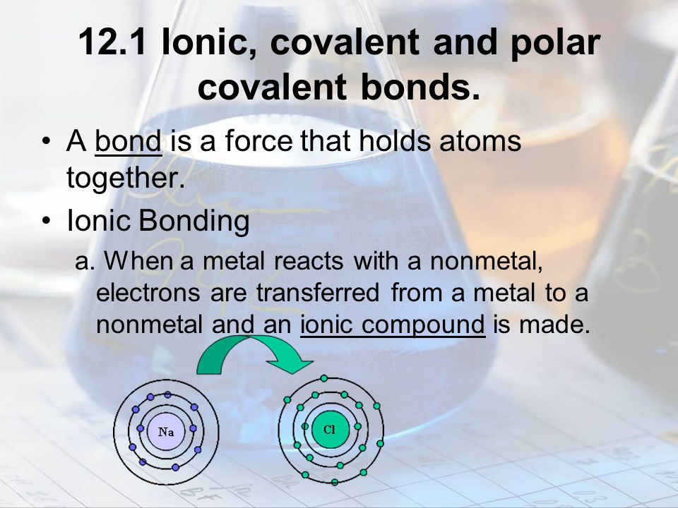 12.1 Ionic, covalent and polar covalent bonds.