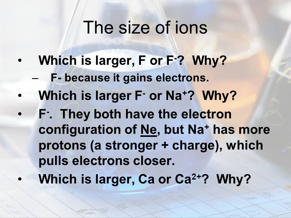 The size of ions Which is larger, F or F- Why