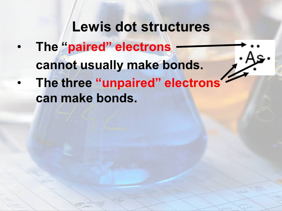 Lewis dot structures The paired electrons cannot usually make bonds.