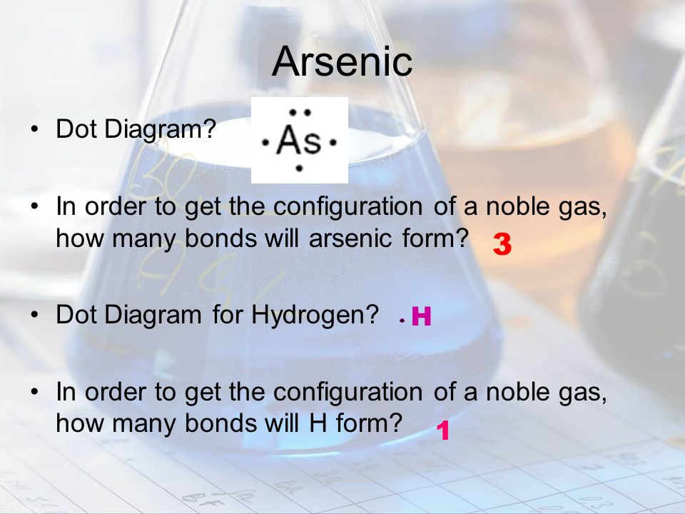 Arsenic Dot Diagram In order to get the configuration of a noble gas, how many bonds will arsenic form