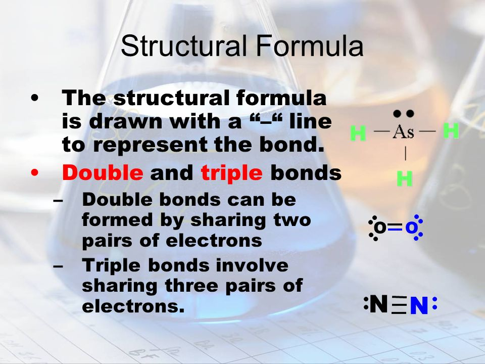 Structural Formula The structural formula is drawn with a – line to represent the bond. Double and triple bonds.