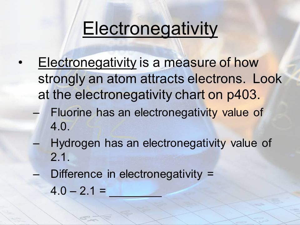 Electronegativity Electronegativity is a measure of how strongly an atom attracts electrons. Look at the electronegativity chart on p403.