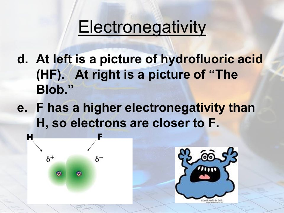 Electronegativity d. At left is a picture of hydrofluoric acid (HF). At right is a picture of The Blob.