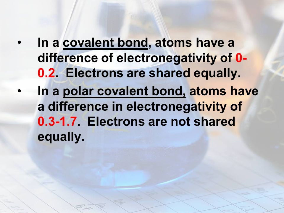 In a covalent bond, atoms have a difference of electronegativity of 0-0.2. Electrons are shared equally.