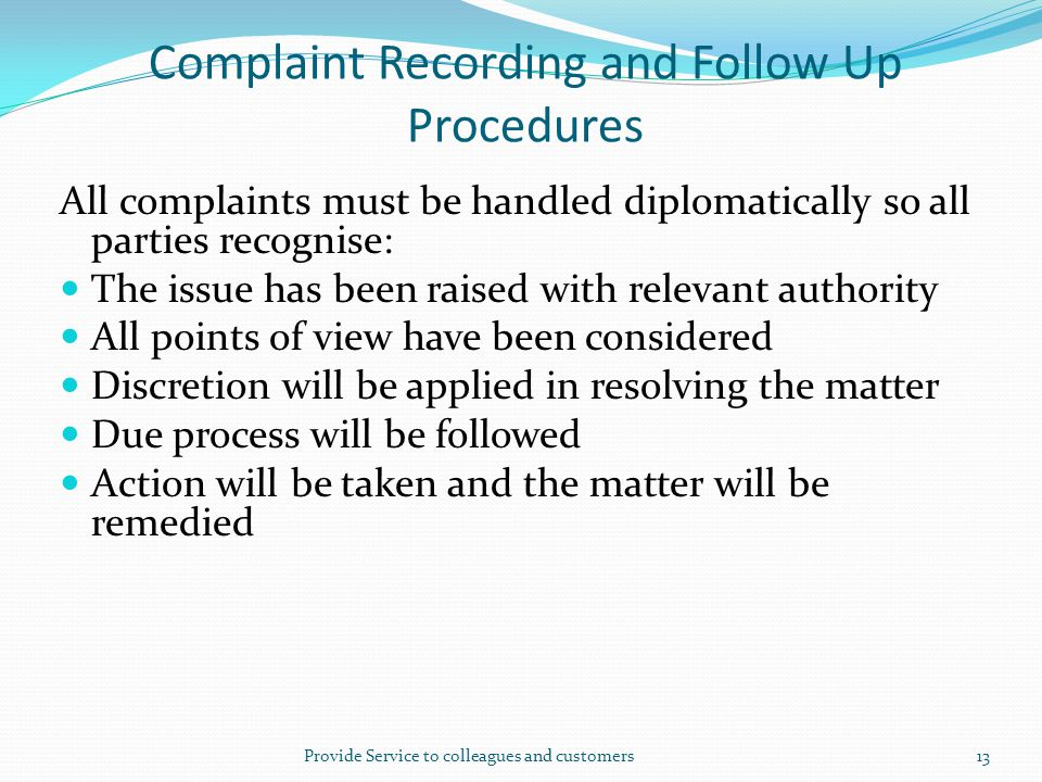Complaint Recording and Follow Up Procedures
