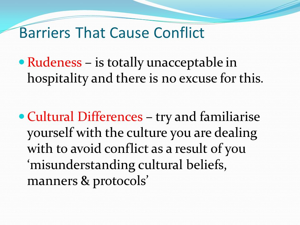 Barriers That Cause Conflict