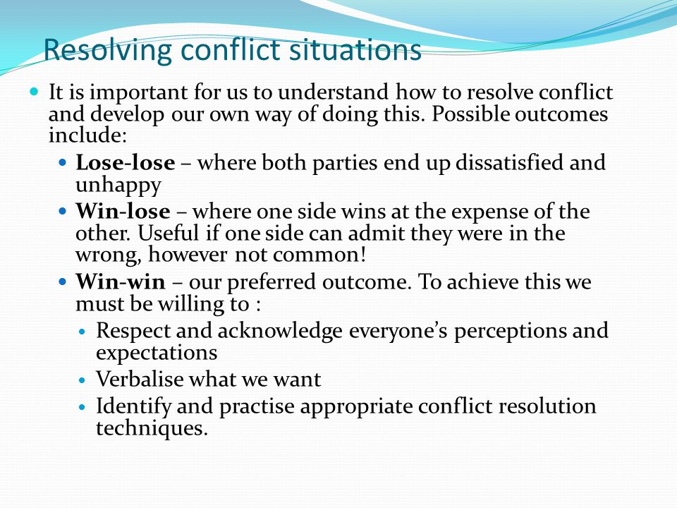 Resolving conflict situations