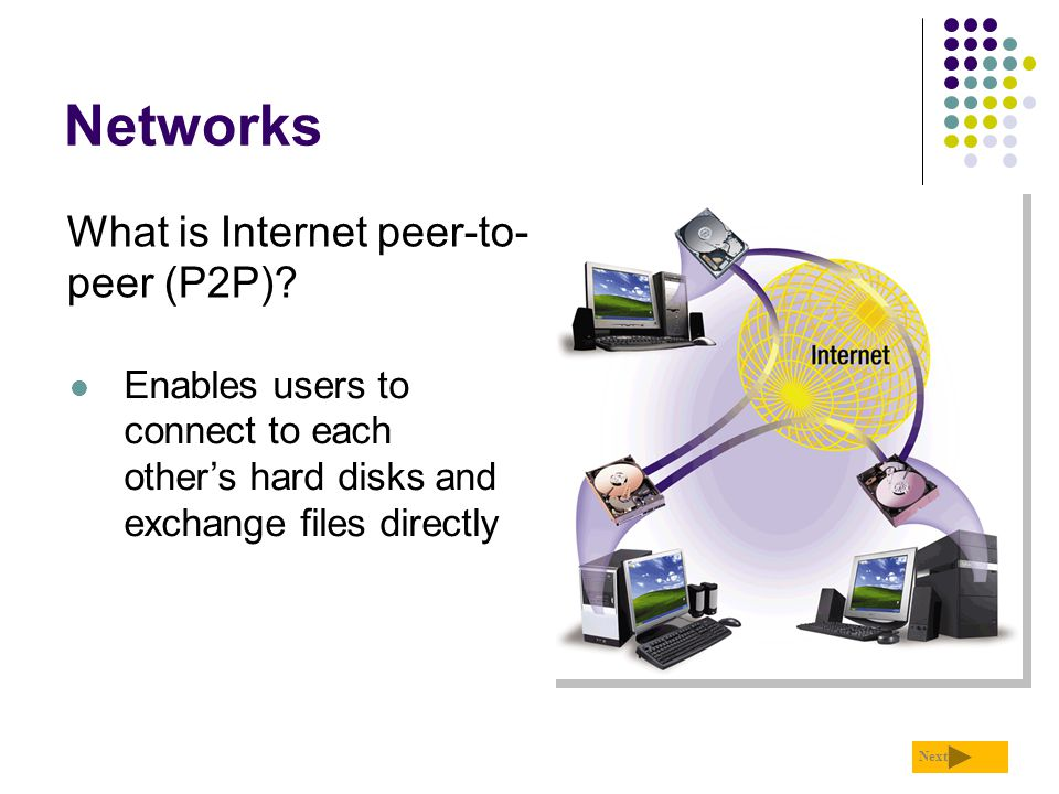 Networks What is Internet peer-to-peer (P2P)