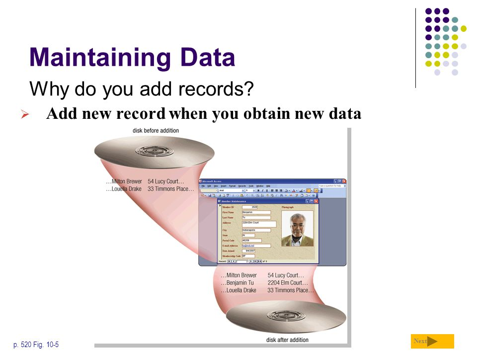 Maintaining Data Why do you add records
