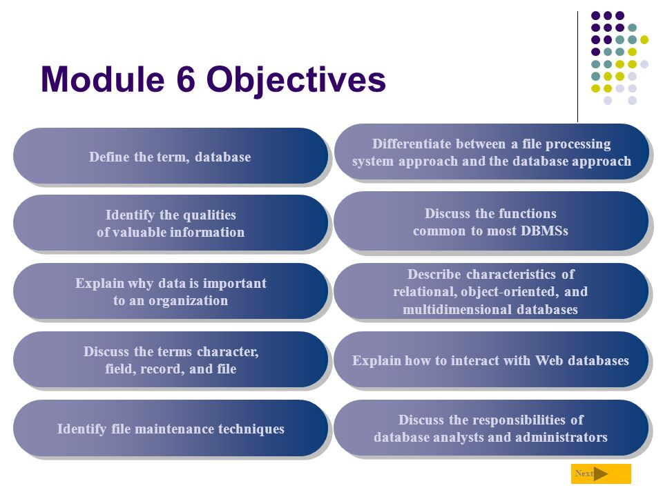 Module 6 Objectives Discuss the functions common to most DBMSs. Identify the qualities of valuable information.