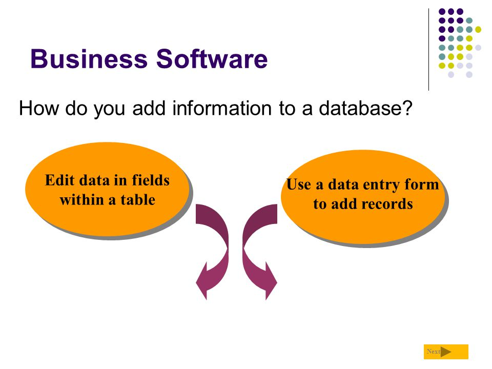 Business Software How do you add information to a database