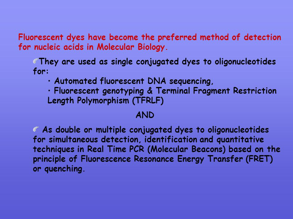 Fluorescent dyes have become the preferred method of detection for nucleic acids in Molecular Biology.