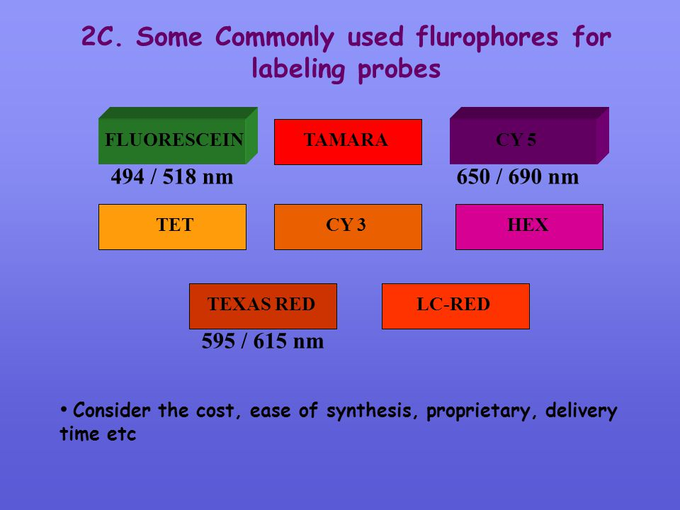 2C. Some Commonly used flurophores for labeling probes