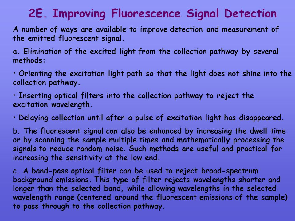 2E. Improving Fluorescence Signal Detection