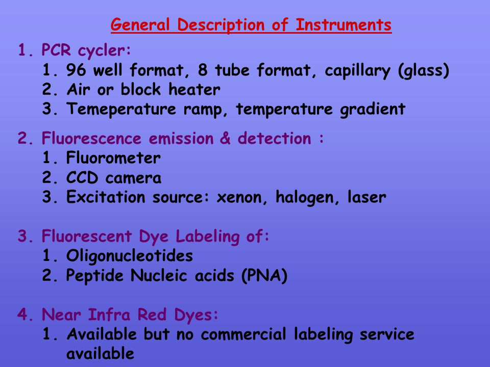 General Description of Instruments