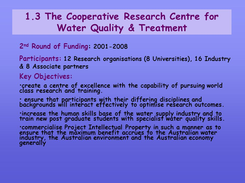 1.3 The Cooperative Research Centre for Water Quality & Treatment