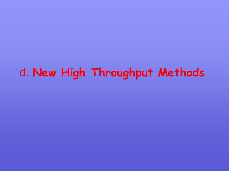 d. New High Throughput Methods