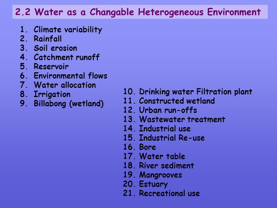 2.2 Water as a Changable Heterogeneous Environment