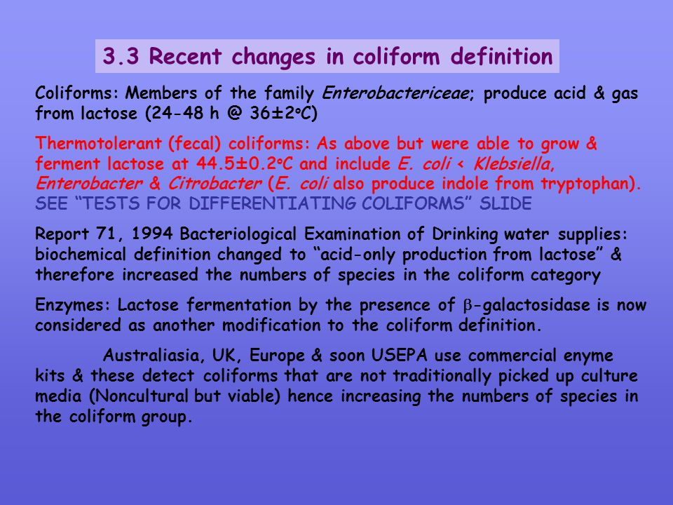 3.3 Recent changes in coliform definition