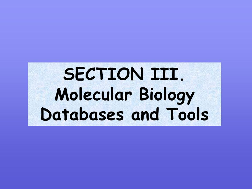 SECTION III. Molecular Biology Databases and Tools
