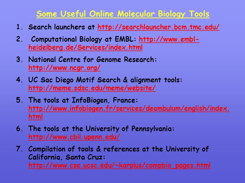 Some Useful Online Molecular Biology Tools