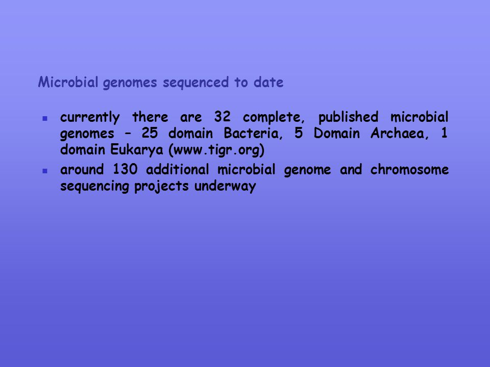 Microbial genomes sequenced to date