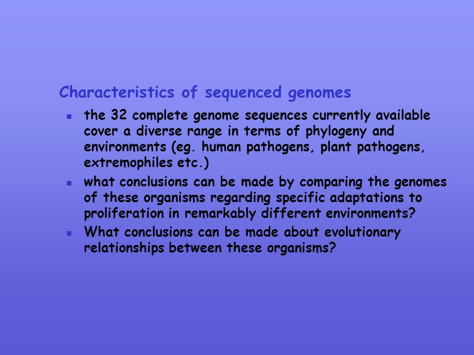 Characteristics of sequenced genomes