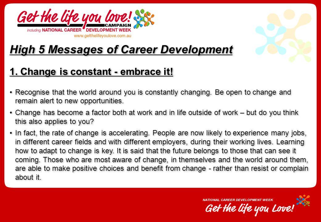 High 5 Messages of Career Development