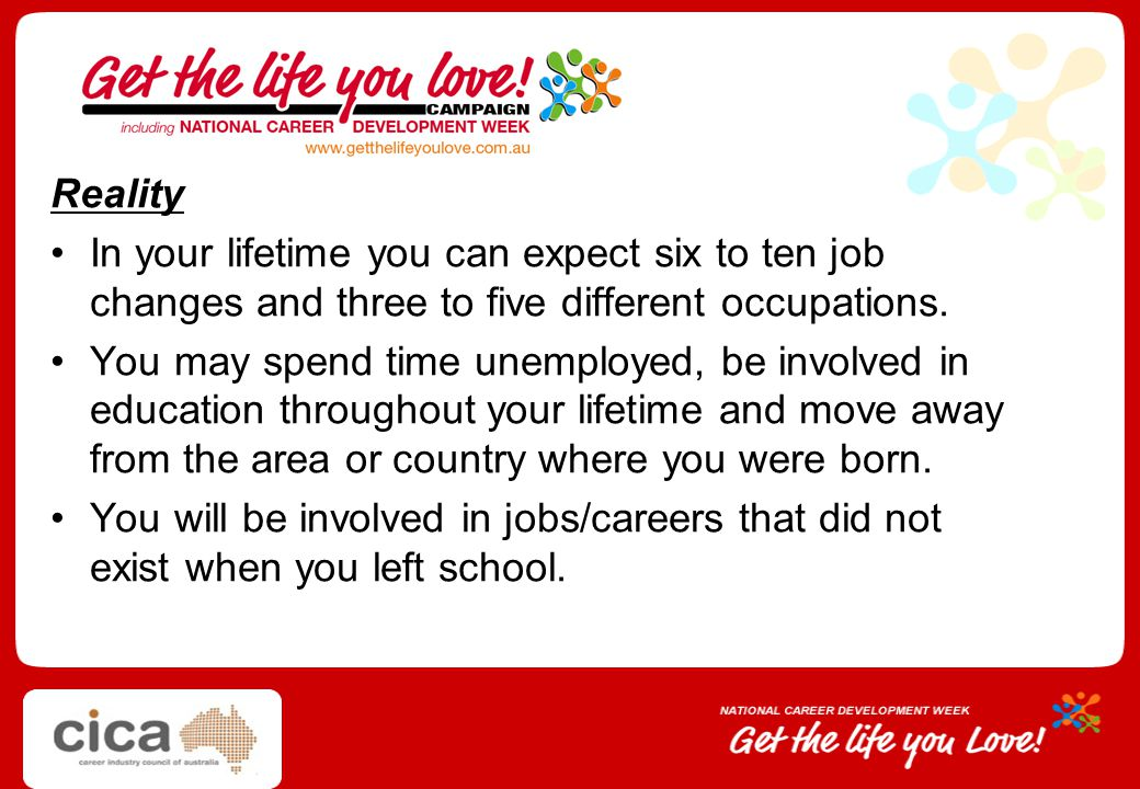 Reality In your lifetime you can expect six to ten job changes and three to five different occupations.