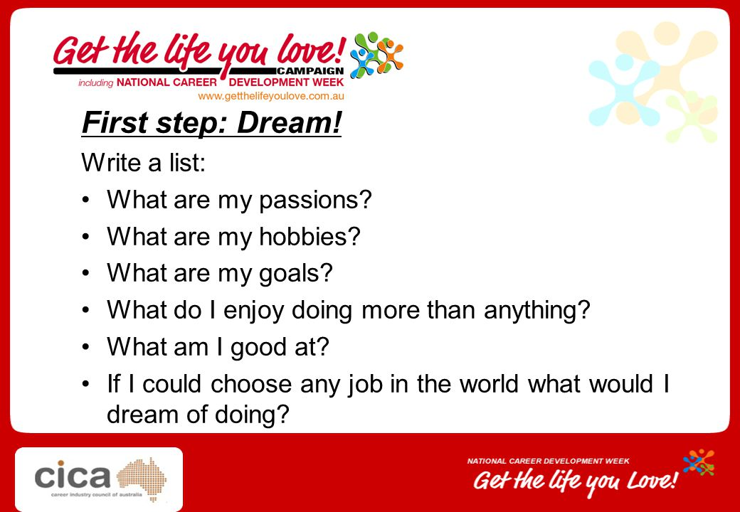 First step: Dream! Write a list: What are my passions