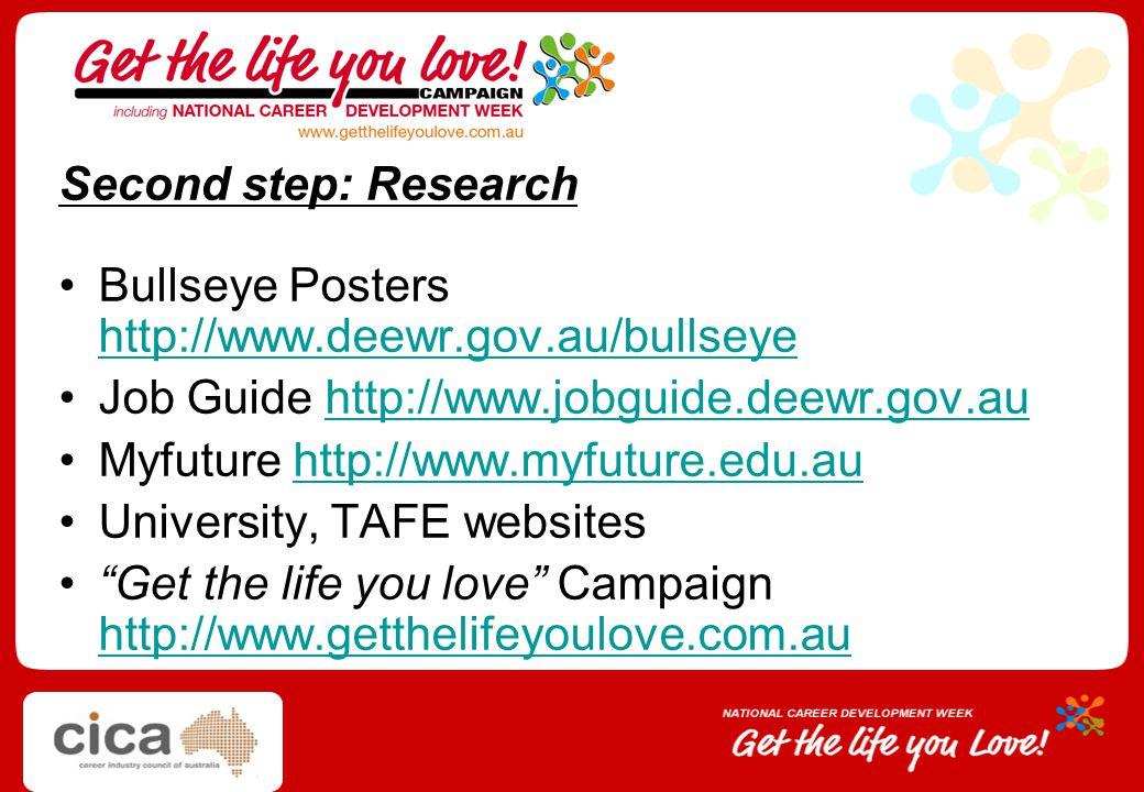Second step: Research Bullseye Posters http://www.deewr.gov.au/bullseye. Job Guide http://www.jobguide.deewr.gov.au.
