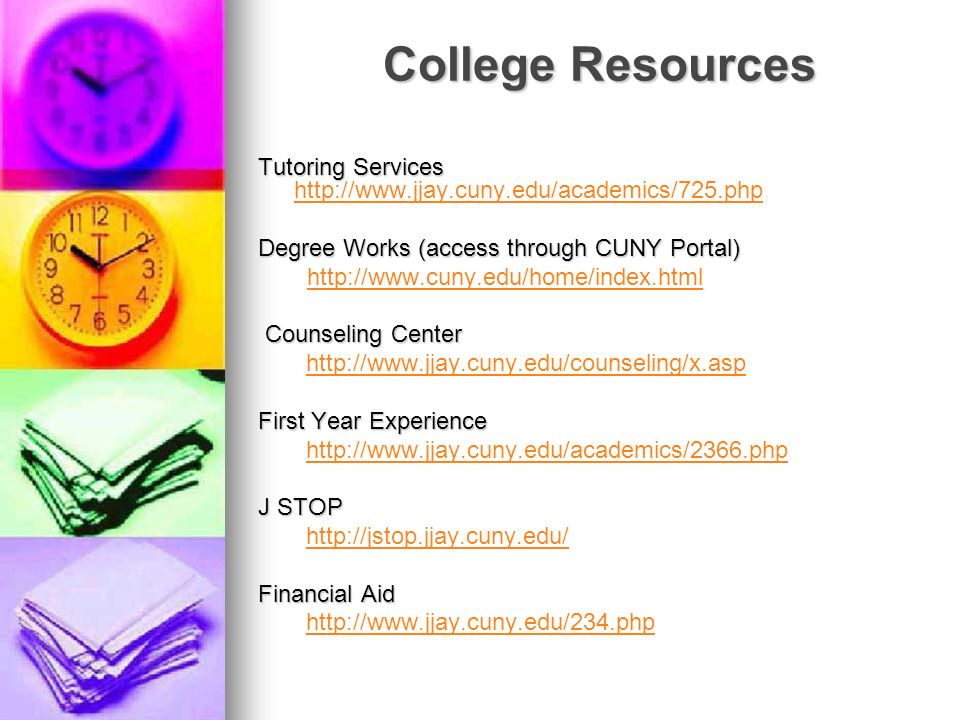 College Resources Tutoring Services http://www.jjay.cuny.edu/academics/725.php.