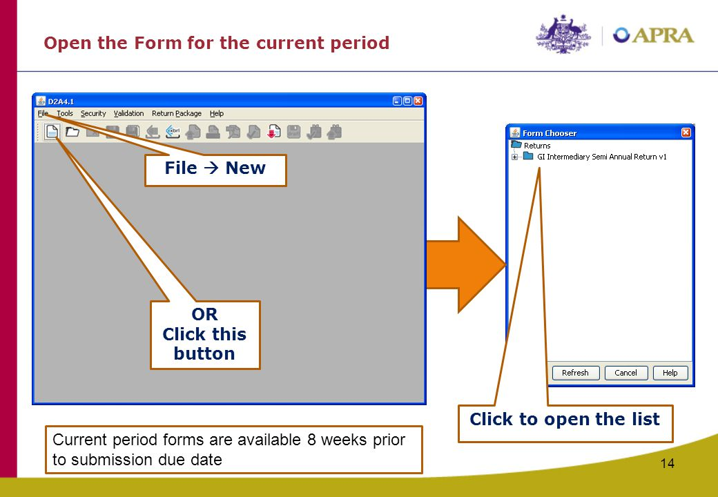Open the Form for the current period