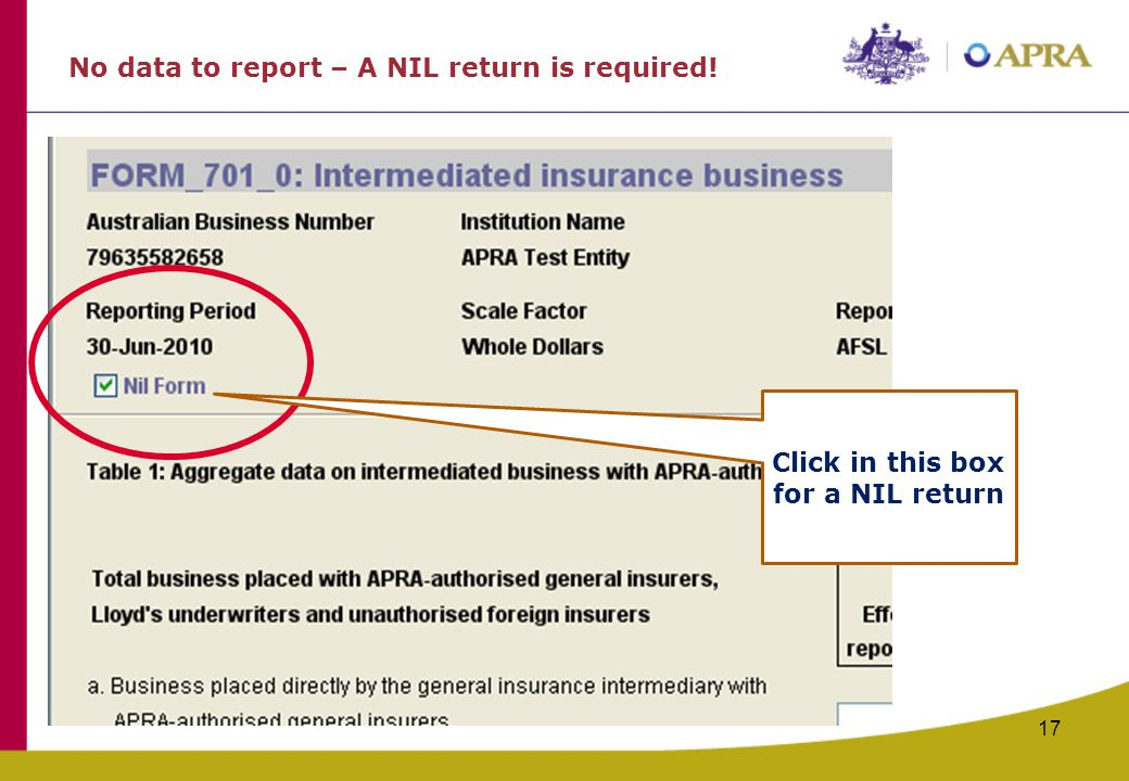 No data to report – A NIL return is required!