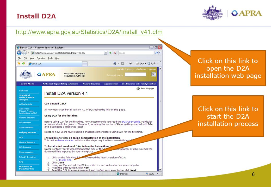 Click on this link to open the D2A installation web page