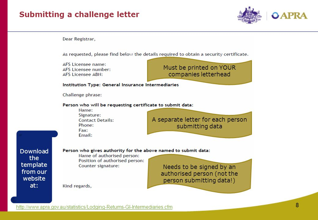 Submitting a challenge letter