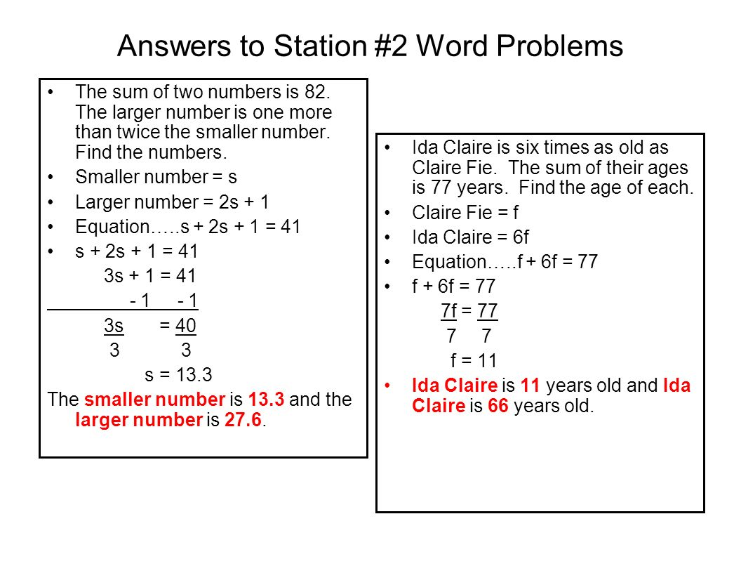 Answers to Station #2 Word Problems